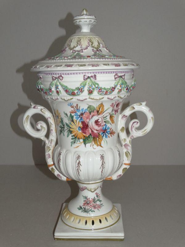 deckelurne porzellan italien florales dekor gef beh ltnis aufbewahrung 1900 ebay. Black Bedroom Furniture Sets. Home Design Ideas
